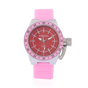STRADA Japanese Movement Watch with Pink Silicone Band and Stainless Steel Back