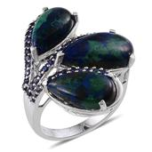 Aurora Azurite, Lab Created Blue Sapphire Platinum Over Sterling Silver Ring (Size 6.0) TGW 15.100 cts.