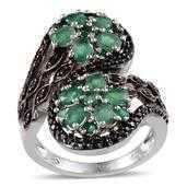 Kagem Zambian Emerald, Thai Black Spinel Platinum Over Sterling Silver Ring (Size 6.0) TGW 3.440 cts.