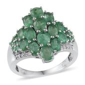 Kagem Zambian Emerald, White Topaz Platinum Over Sterling Silver Ring (Size 6.0) TGW 4.370 cts.