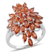 Orange Sapphire Platinum Over Sterling Silver Ring (Size 10.0) TGW 5.400 cts.
