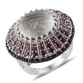 Marvelous Meteorites, Orissa Rhodolite Garnet, Thai Black Spinel Platinum Over Sterling Silver Ring (Size 6.0) TGW 26.360 cts.