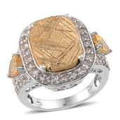 Golden Marvelous Meteorites, White Topaz, Brazilian Citrine Platinum Over Sterling Silver Ring (Size 7.0) TGW 20.700 cts.