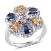Kanchanaburi Blue, Pink and Yellow Sapphire, White Topaz Platinum Over Sterling Silver Ring (Size 6.0) TGW 3.580 cts.