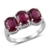 Niassa Ruby Platinum Over Sterling Silver 3 Stone Timeless Ring (Size 9.0) TGW 7.900 cts.