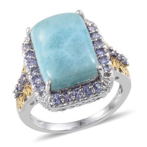 Larimar, Tanzanite 14K YG and Platinum Over Sterling Silver Flattering Style Ring (Size 8.0) TGW 12.020 cts.