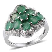 Kagem Zambian Emerald, White Topaz Platinum Over Sterling Silver Ring (Size 6.0) TGW 3.695 cts.