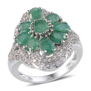 Kagem Zambian Emerald, White Topaz Platinum Over Sterling Silver Ring (Size 8.0) TGW 5.063 cts.