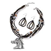 Black Seed Bead, Glass Silvertone Earrings and Horse Head Pendant on Multi Strand Necklace (20-22 in)