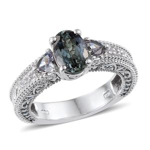 Bondi Blue Tanzanite, White Topaz Platinum Over Sterling Silver Ring (Size 6.0) TGW 2.310 cts.