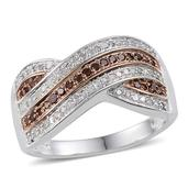 Saffron Diamond Platinum Over Sterling Silver Ring (Size 10.0) TDiaWt 0.50 cts, TGW 0.500 cts.