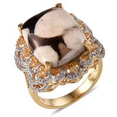Peanut Wood Jasper, White Topaz, Brazilian Citrine 14K YG Over Sterling Silver Ring (Size 7.0) TGW 13.220 cts.