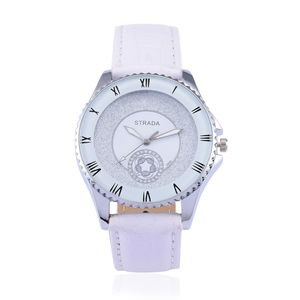 STRADA Japanese Movement Watch with White Faux Leather Band and Stainless Steel Back