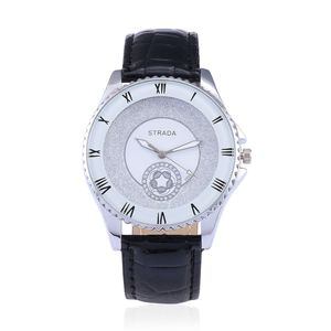 STRADA Japanese Movement Roman Numerals Watch with Black Faux Leather Band and Stainless Steel Back