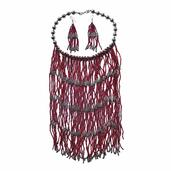 Red Seed Bead Silvertone Fringe Necklace (18 in) and Earrings