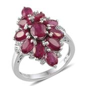Niassa Ruby, White Topaz Platinum Over Sterling Silver Ring (Size 6.0) TGW 7.200 cts.