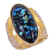 Simulated Opal, Austrian Crystal Ring in ION Plated YG Stainless Steel (Size 10.0) TGW 30.001 cts.