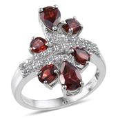 Mozambique Garnet (Pear), White Topaz Ring in Platinum Overlay Sterling Silver Nickel Free (Size 7) TGW 4.33 Cts.