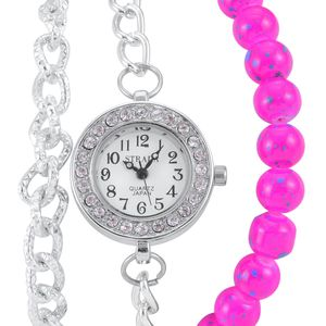 STRADA Austrian Crystal Japanese Movement Pink Beaded Watch Bracelet with Stainless Steel Back (7-9 In)