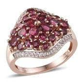 Ouro Fino Rubellite, White Topaz 14K RG Over Sterling Silver Ring (Size 7.0) TGW 3.020 cts.