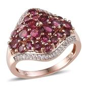 Ouro Fino Rubellite, White Topaz 14K RG Over Sterling Silver Ring (Size 9.0) TGW 3.020 cts.