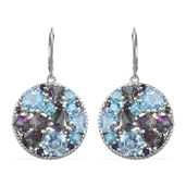 Multi Gemstone Platinum Over Sterling Silver Lever Back Earrings TGW 19.062 cts.