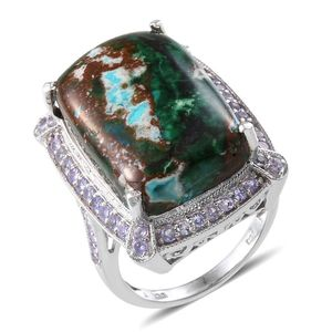 Australian Chrysocolla, Tanzanite Platinum Over Sterling Silver Ring (Size 8.0) TGW 29.650 cts.