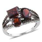 Mozambique Garnet, Black Diamond Platinum Over Sterling Silver Ring (Size 10.0) TDiaWt 0.06 cts, TGW 5.360 cts.