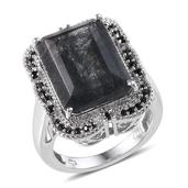 Tourmalinated Quartz, Thai Black Spinel Platinum Over Sterling Silver Ring (Size 7.0) TGW 16.230 cts.