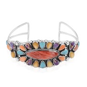 Santa Fe Style Spiny Oyster Red Shell, Multi Gemstone Sterling Silver Cuff TGW 18.63 cts.