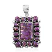 Santa Fe Style Mojave Purple Turquoise Sterling Silver Earrings and Pendant without Chain TGW 13.70 Cts.