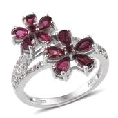 Ouro Fino Rubellite, White Topaz Platinum Over Sterling Silver Floral Ring (Size 9.0) TGW 2.468 cts.