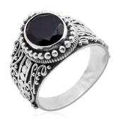 Bali Legacy Collection Thai Black Spinel (Ovl) Swirl Filigree Ring in Sterling Silver Nickel Free (Size 7) TGW 4.21 Cts.
