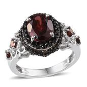 Mozambique Garnet (Ovl 3.00 Ct), Thai Black Spinel Ring in Platinum Overlay Sterling Silver Nickel Free (Size 8) TGW 4.48 Cts.