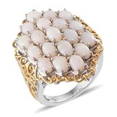 Australian White Opal 14K YG and Platinum Over Sterling Silver Cluster Ring (Size 8.0) TGW 4.750 cts.