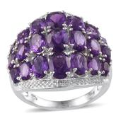 Lusaka Amethyst Platinum Over Sterling Silver Ring (Size 9.0) TGW 7.790 cts.