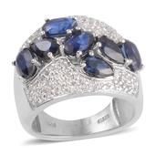 Himalayan Kyanite, White Topaz Platinum Over Sterling Silver Ring (Size 6.5) TGW 4.880 cts.