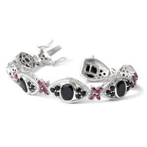 Thai Black Spinel, Orissa Rhodolite Garnet Platinum Over Sterling Silver Bracelet (7.50 In) TGW 25.39 cts.