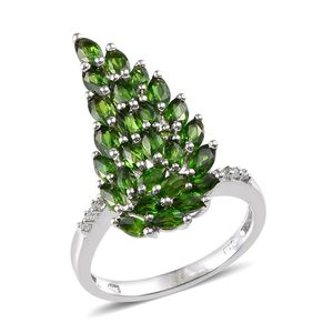 Russian Diopside, White Topaz Platinum Over Sterling Silver Ring (Size 5.0) TGW 3.940 cts.
