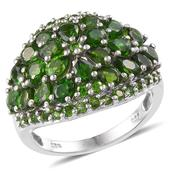 Russian Diopside Platinum Over Sterling Silver Ring (Size 7.0) TGW 6.480 cts.