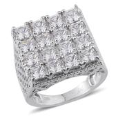 J Francis - Platinum Over Sterling Silver Ring Made with SWAROVSKI ZIRCONIA (Size 6.0) TGW 11.500 cts.