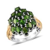 Russian Diopside 14K YG and Platinum Over Sterling Silver Cluster Ring (Size 8.0) TGW 8.100 cts.