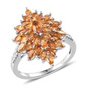 Santa Ana Madeira Citrine Platinum Over Sterling Silver Ring (Size 6) TGW 3.000 cts.