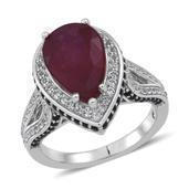 Niassa Ruby, Thai Black Spinel, White Topaz Sterling Silver Ring (Size 8.0) TGW 6.430 cts.