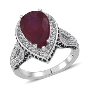 Niassa Ruby, Thai Black Spinel, White Topaz Sterling Silver Ring (Size 9.0) TGW 6.430 cts.