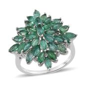 Kagem Zambian Emerald Platinum Over Sterling Silver Ring (Size 6.0) TGW 5.000 cts.