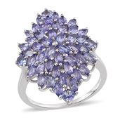 Tanzanite Platinum Over Sterling Silver Cluster Ring (Size 5.0) TGW 4.40 cts.