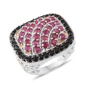 Niassa Ruby, Thai Black Spinel 14K YG and Platinum Over Sterling Silver Ring (Size 6.0) TGW 5.600 cts.