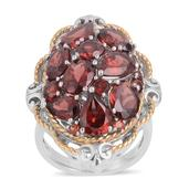 Mozambique Garnet Ring in 14K YG Overlay and Sterling Silver Nickel Free (Size 8) TGW 7.610 cts.