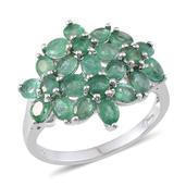 Kagem Zambian Emerald Platinum Over Sterling Silver Ring (Size 9.0) TGW 3.400 cts.